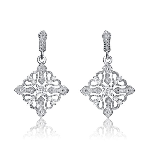 Collette Z Sterling Silver Cubic Zirconia Diamond-shape Dangle Earrings
