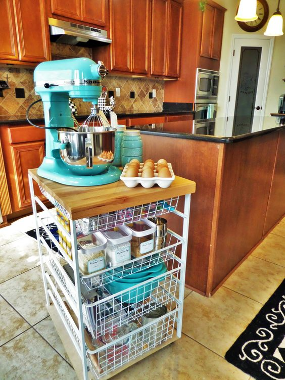 Baking Station-a great use for an ikea cart?! Couldn't use the mixer but awesome for baking storage