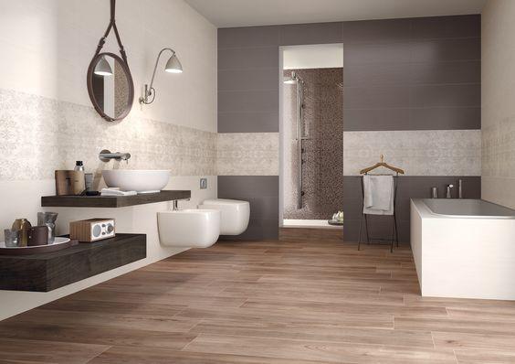 A pavimento di questo bagno la nostra collezione priv effetto legno noce - Pavimento bagno effetto legno ...