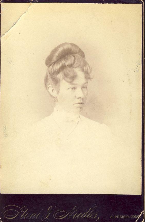 VICTORIAN HAIR STYLE On Pretty Pueblo Colorado Woman Cabinet Photo Circa 1880s. $12.00, via Etsy.