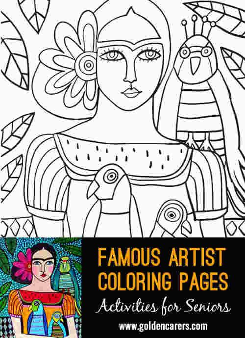 Coloring Book Artist Famous Artists Paintings Kahlo Paintings Famous Artists