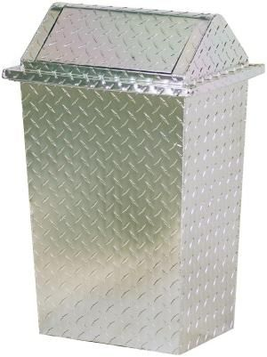 Diamond Plate Swing Top Kitchen or Garage Trash Container