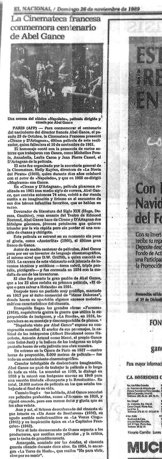 La cinemateca francesa conmemora centenario de Abel Gande. 26 de noviembre de 1989.
