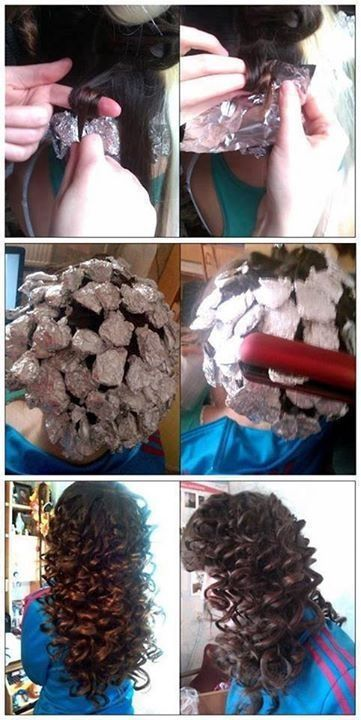 Ultimate curly hair. I know it looks like one of those pinterest tutorials that never actually works but honestly this does. Curliness depends on how much hair you put in the tin foil. Remember: you're just heating it, NOT BURNING IT