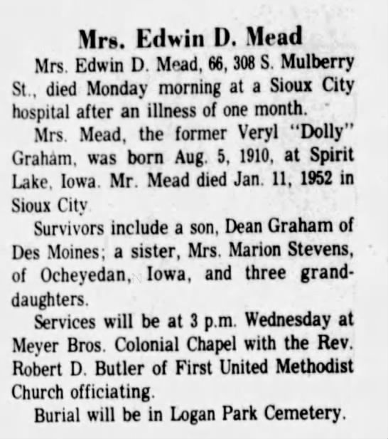 Veryl Graham Mead Obit Mead City Journal Newspapers