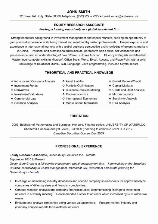 Equity Research Analyst Resume Awesome Equity Research Associate Resume Sample Template