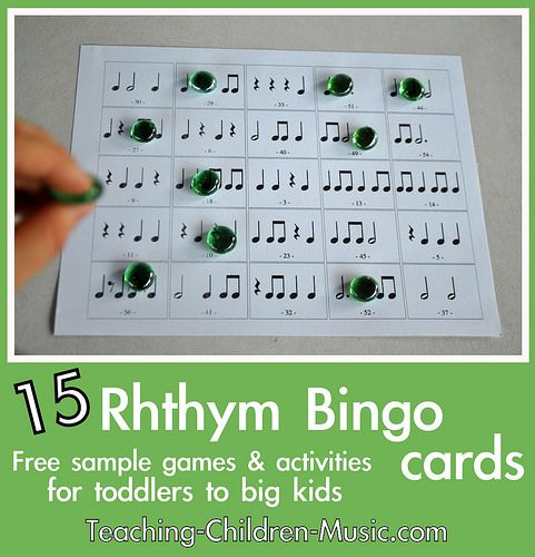 Free rhythm bingo game from Teaching Children Music