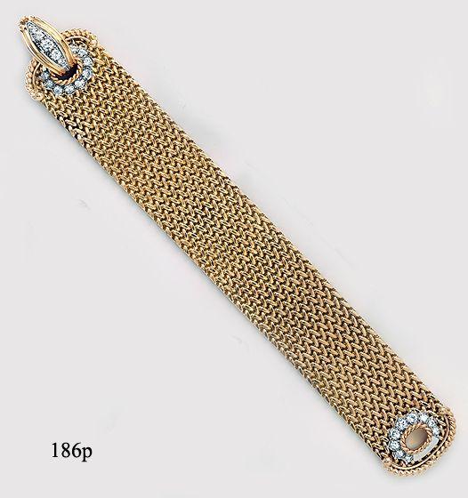 Diamond  and gold mesh buckle bracelet.  Maubousin, Paris