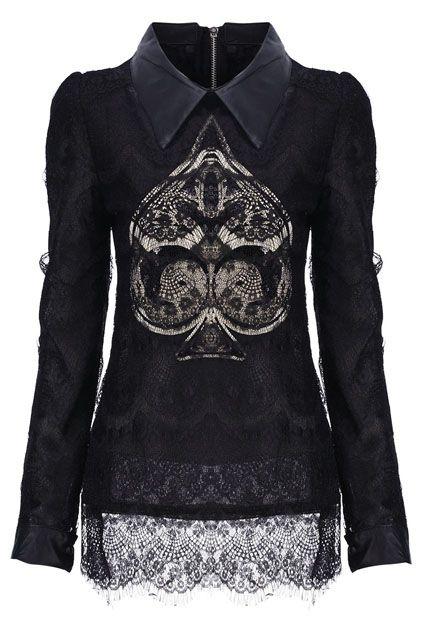Sequins Embellished Spade-shaped Black Lace Blouse