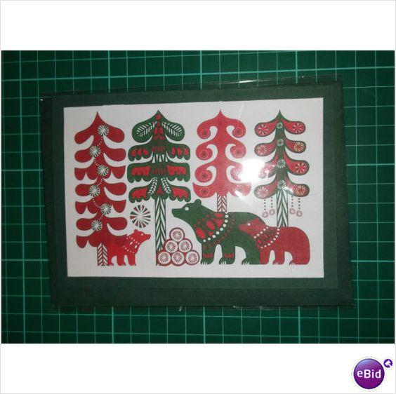 Handmade Christmas Card Bears and Trees Scandinavian Style A6