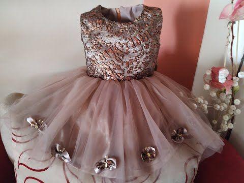 لبس العيد طريقة عمل فستان طفله تل منفوش Youtube Flower Girl Dresses Dresses Wedding Dresses