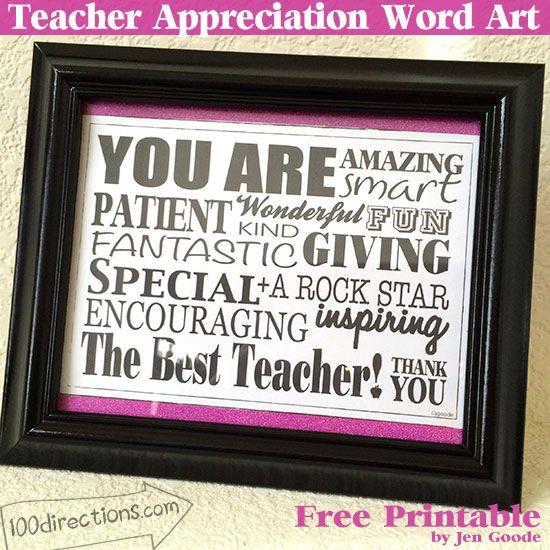 Free printable teacher appreciation word art by Jen Goode