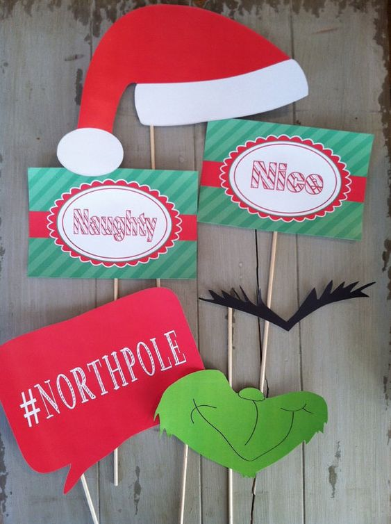 Christmas Naughty and Nice Grinch Photo Booth Party Props- Santa Props