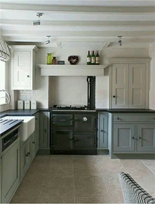 Modern Country Kitchen with Aga Kitcen in Farrow and Ball Shaded White and Pigeon