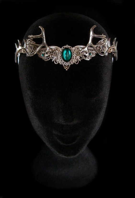 Dryad Hair Tiara Circlet Green Emerald Silver Nymph Wood Wiccan Goddess Queen Baratheon