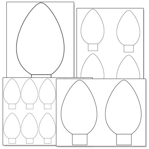 Printable Christmas Light Bulb Template from PrintableTreats.com
