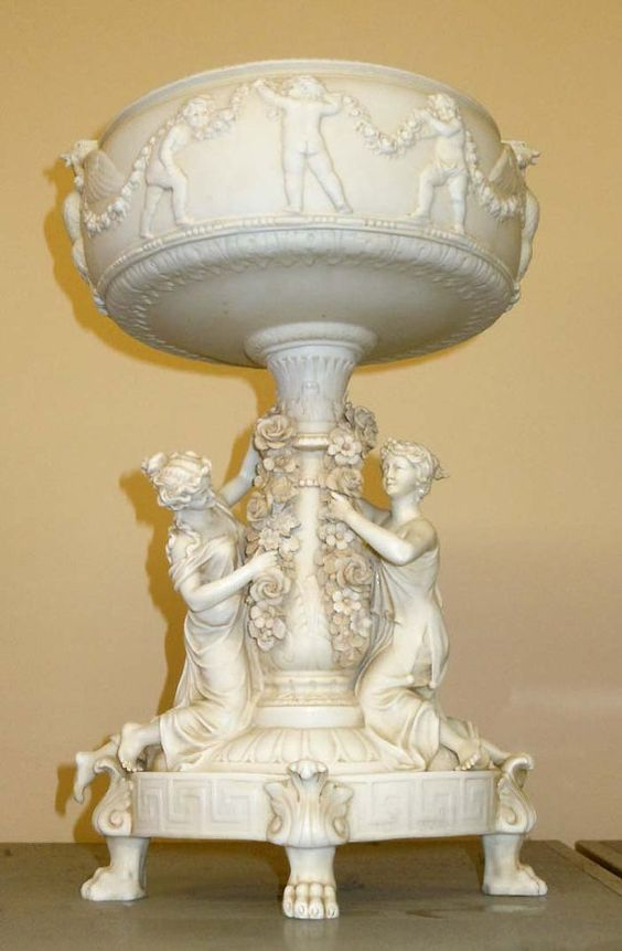 19thc Victorian Parian ware Females and Cherubs Fountain Allegorical Sculpture