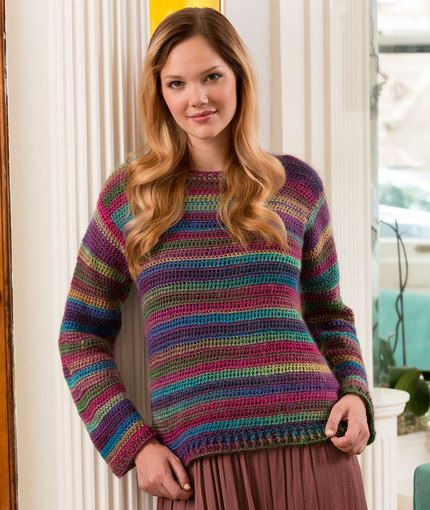 Crochet Patterns Jumper : Love-to-Wear Sweater Free Crochet Pattern in Red Heart Yarn