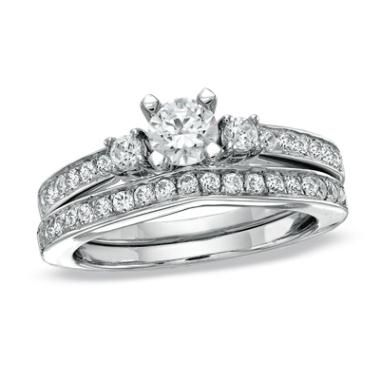 1.00 CT. T.W. Diamond Three Stone Bridal Set in 14K White Gold
