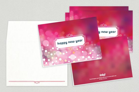 Happy New Year Greeting Card Template - Bubbly light patterns - new year greeting card template