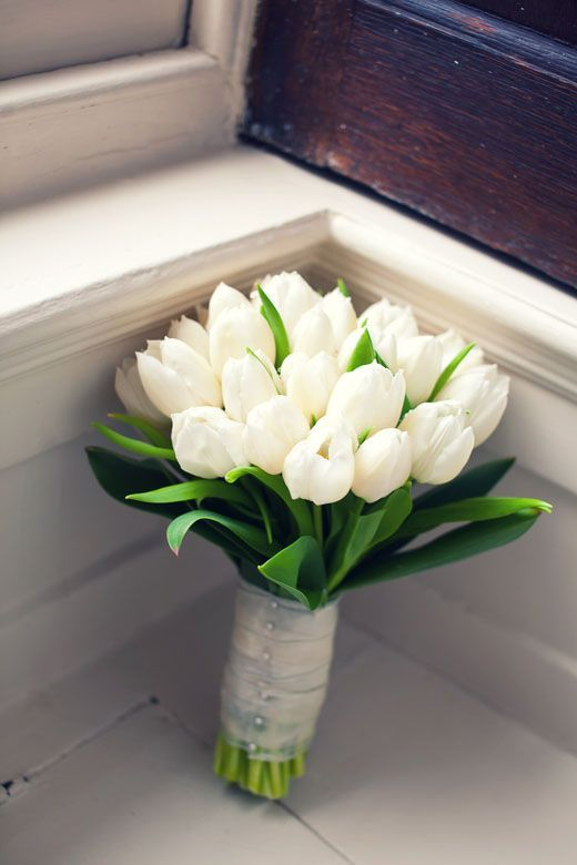 White Tulips Bouquet Wedding Flowers Tulips Spring Wedding Bouquets White Wedding Bouquets