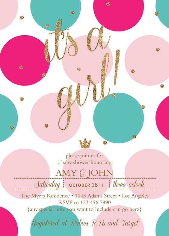 It's A Girl Baby Shower Invite Invitation by ChloeIsabellaDesigns