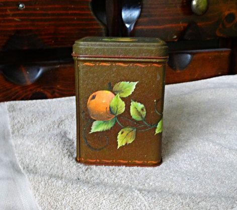 Old Apple Candy Tin Rustic Brown with lid 1970s by dannysdepot