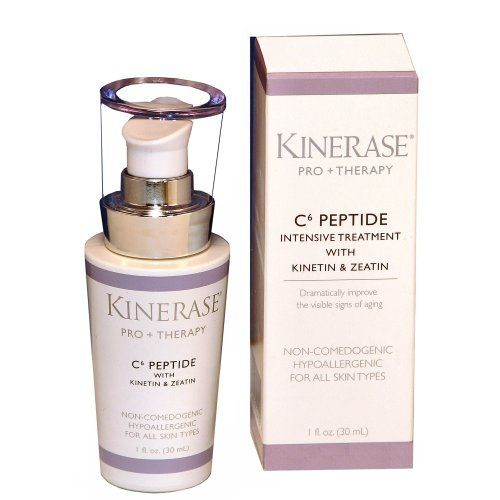 Kinerase Pro+Therapy C6 Peptide Intensive Treatment with Kinetin & Zeatin 1.0 Ounces (30ml) Pump Bottle by KINERASE. $110.00. Treats rosacea, loss of skin elasticity, eczema, uneven texture. Non-Comedogenic and Hypoallergenic. Minimizes appearance of freckles and brown spots. Reduce the appearance of wrinkles by 27% after 30 days of treatment. Contains Kinetin and Zeatin which dramactically improve the visible signs of aging. A professionals-only skin care line, Kin...