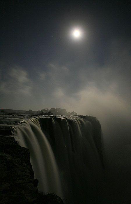 Full moon over the Victoria Falls.