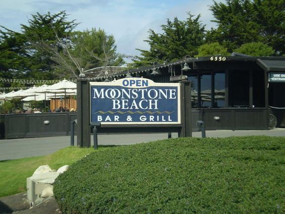 Moonstone Beach Bar & Grill is located on Moonstone Drive in Cambria. Moonstone Beach features several cove beaches back by bluffs with an oceanfront boardwalk. Many quaint inns, restaurants and art galleries are situated along Moonstone Drive.