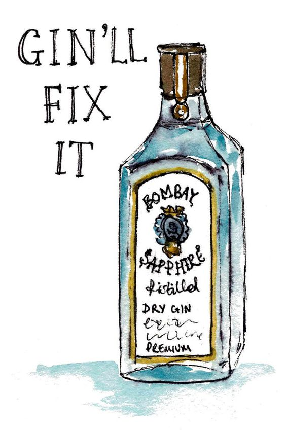 Gin'll fix it card by sarah majury by WhiteHartCo on Etsy, £2.00