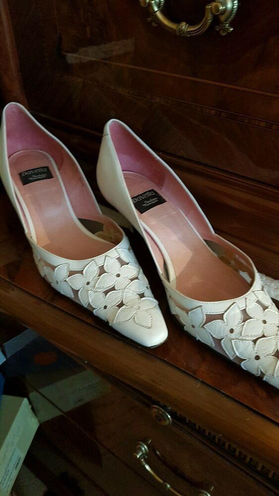 White Leather Kitten Heel Shoe 6 Kitten Heels From Ebay Uk