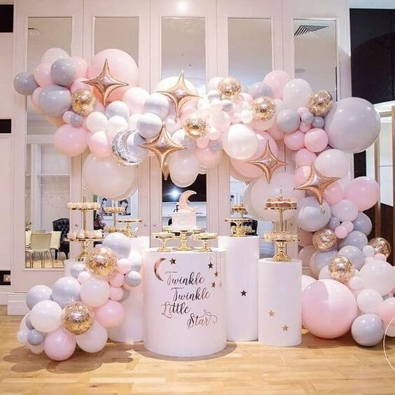 Moon And Star Cakes And Baby Shower Ideas With Free Printables Star Baby Showers Baby Shower Parties Baby Shower Decorations