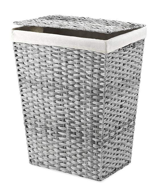 Whitmor Rattique Hamper W Liner Lid Laundry Gray Wash Review