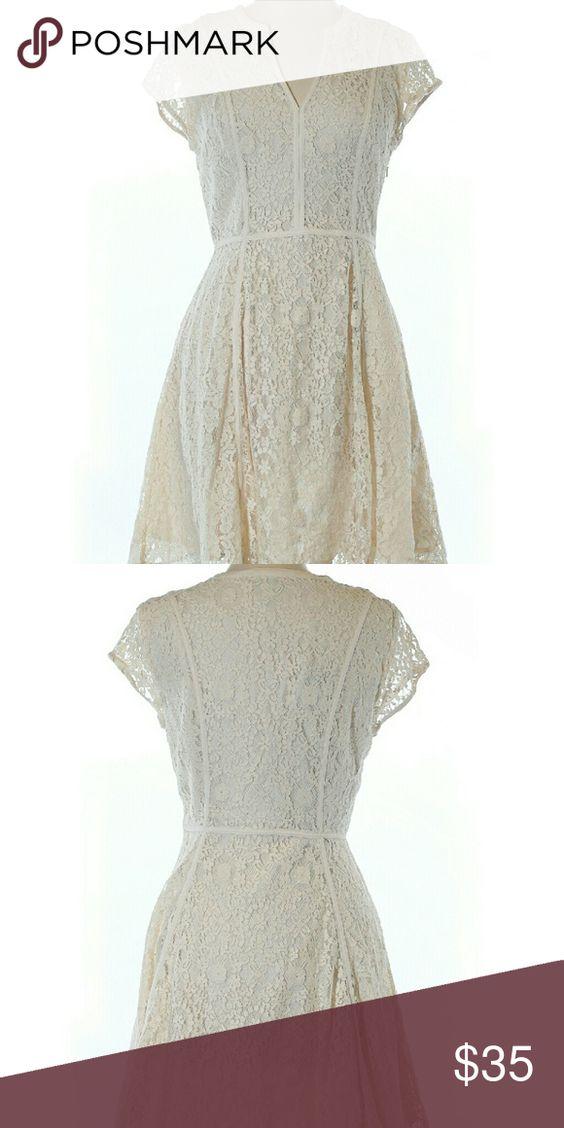 """Lauren  Conrad Dress NWT size 10 A-line silhouette, cream colored, lace detail. 32"""" chest 34"""" length 72% cotton, 28% nylon LC Lauren Conrad Dresses"""