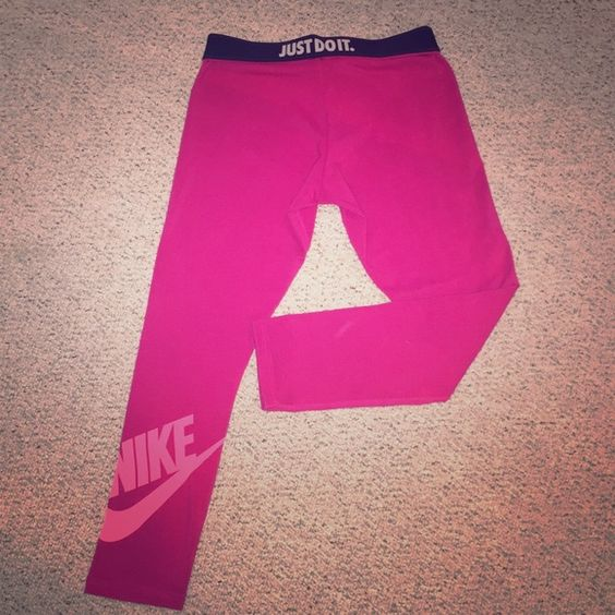 "❗️SOLD NiKE Leg a See Leggings Pink  Just Do It Brand new without tags. Pink Nike ""Leg a See"" Leggings. Light Pink NIKE SWOOSH printed on leg. Black Foldover waist band that says ""Just Do It.""  Hard to find color. Size: Small, depending on how tall you are they can be mid calf leggings or longer leggings to the ankle.   ❗️❗️ NO LONGER AVAIL. SOLD SOMEWHERE ELSE. Thanks for your shares, ❤️'s, & interest. I appreciate the Posh Love ❗️❗️ Nike Pants Leggings"