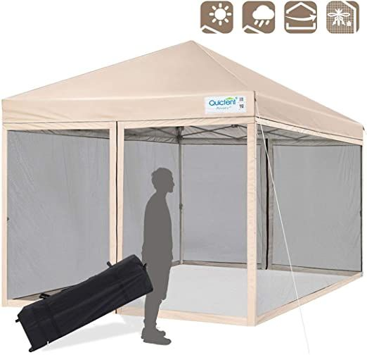 Easy Pop Up Canopy 10x10 Waterproof Patio Gazebo Tent 4 Zip Side Walls Carry Bag Ebay Canopy Tent Outdoor Tent Patio Gazebo