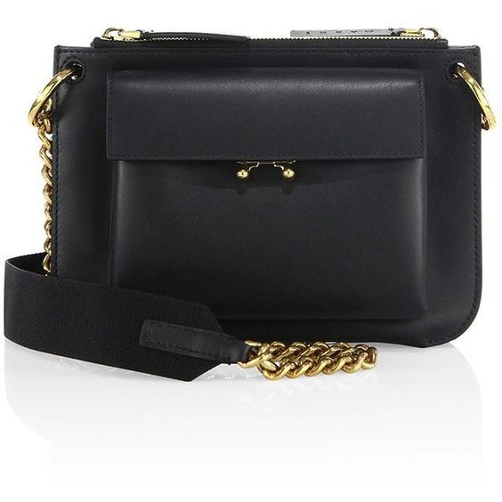 Marni Bandoleer Leather Shoulder Bag ($1,740) ❤ liked on Polyvore featuring bags, handbags, shoulder bags, apparel & accessories, leather cross body handbags, genuine leather handbags, genuine leather purse, leather shoulder bag and crossbody purse