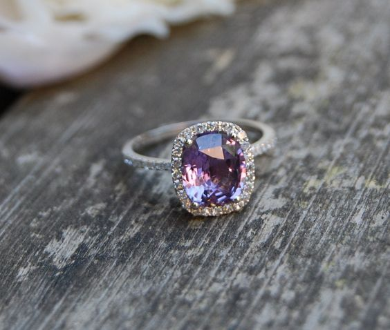 2 6ct Cushion Plum color change sapphire 14k white gold diamond engagement ri