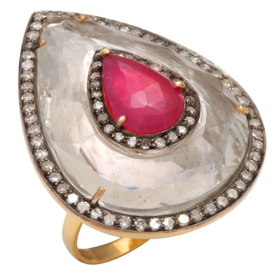 Rock Crystal, Ruby, and Diamond Teardrop Ring | From a unique collection of vintage cocktail rings at http://www.1stdibs.com/jewelry/rings/cocktail-rings/