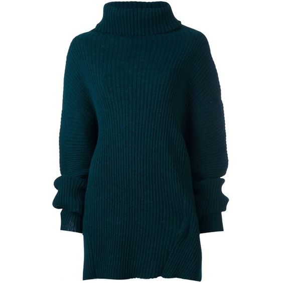 Ann Demeulemeester 'Botella' pullover ($1,365) ❤ liked on Polyvore featuring tops, sweaters, green, green top, green pullover sweater, blue pullover, green sweater and blue green sweater