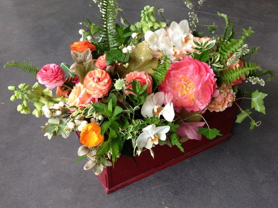 Textured mix in an antique painted metal box