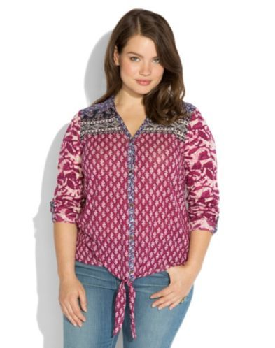 Corte Madera Tie Front top - Plus Size www.luckybrand.com