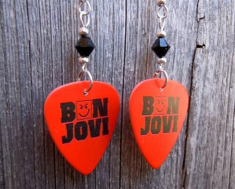 Bon Jovi Have A Nice Day Album Guitar Pick Earrings With Black