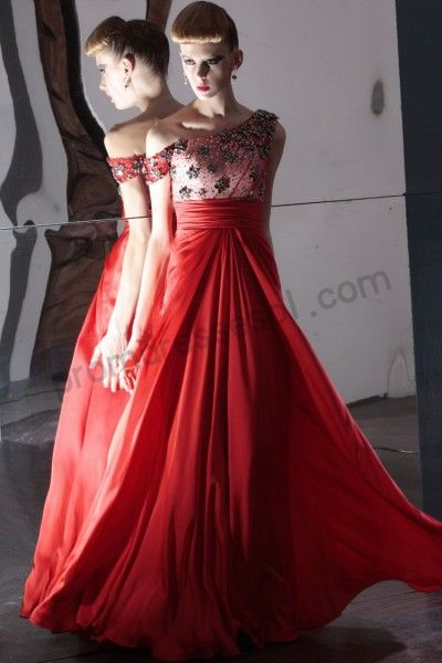 Red Off-shoulder Beads Chiffon A-line Floor-length Evening Party Dress