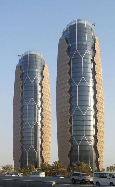 Al Bahar Towers in Abu Dhabi.: