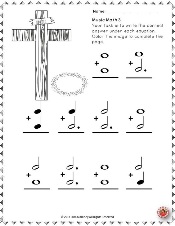 Printables Religious Worksheets music math with an easter religious theme 24 worksheets aimed at reinforcing students