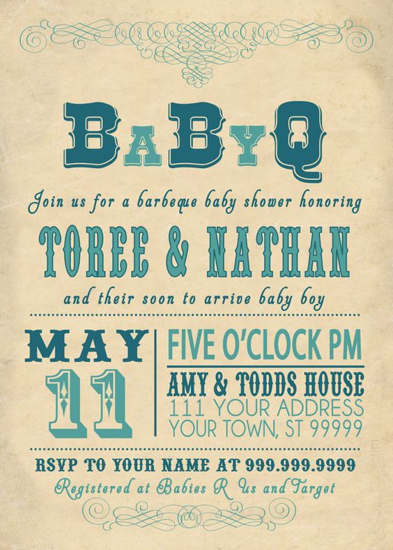babyq bbq baby shower invitation vintage couples | baby showers, Baby shower invitations