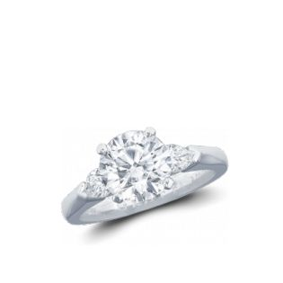 Graff diamond engagement ring brilliant center stone with pear shapes on the side