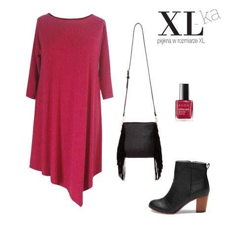 Bordowa, ciepła, sukeinka w dużych rozmiarach - doskonała do jesiennych stylizacji.  Szczegółowe informacje o sukience na www.xl-ka.pl